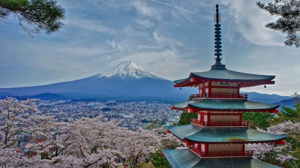Chureito Pagoda Mount Fuji Japan Sakura Spring