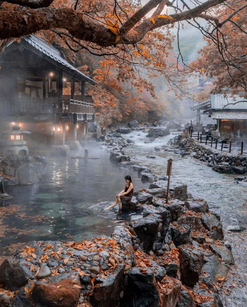 Outdoor onsen rotemburo in Autumn