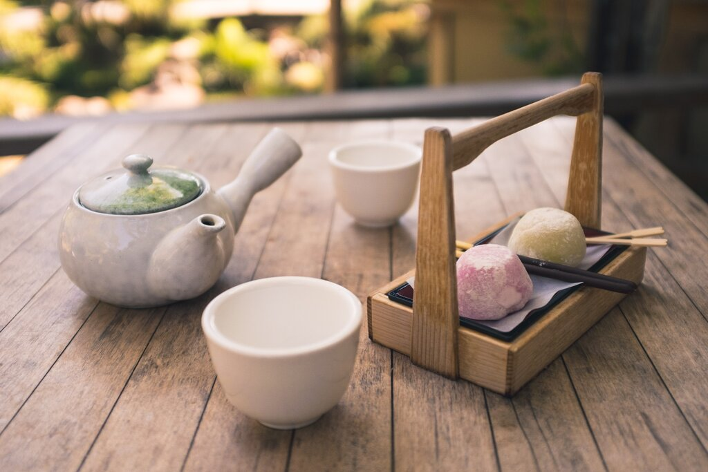 Drinking Japanese Tea in a Garden
